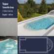 2810 Topaz Compact Ceramic IG Pool Package Tenerife Grey - 7,50 x 3,52 m x 1,40 m dyb