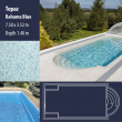 2811 Topaz Compact Ceramic IG Pool Package Bahama Blue - 7,50 x 3,52 m x 1,40 m deep