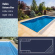 2813 Rubin Compact Ceramic IG Pool Package Bahama Blue - 8,20 x 3,54 m x 1,50 m dyb
